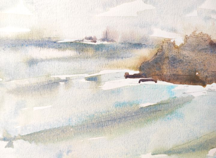Coast 7 - Painting, ©2020 by Ibolya Taligas -                                                                                                                                                                                                                                                                                                                                                                                                                                                                                                                                                                                                                                                                                                                                                                                                                                                                                                                                                                                                                                                                                                                                                                                                                                                                              Abstract, abstract-570, Abstract Art, Beach, Landscape, Nature, Seascape, seashore, abstract, watercolour, painting, landscape, seascape, surf, waves, sea, water, grey, gloomy, weather, cold, windy, rocks, cliffs, Cornwall, England, fine art