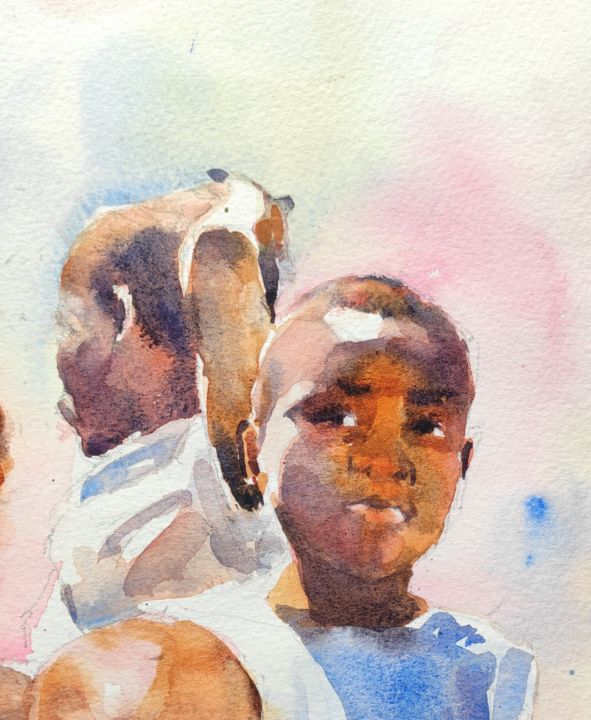 Malawian Children - Painting, ©2017 by Ibolya Taligas -                                                                                                                                                                                                                                                                                                                                                                                                                                                                                                                                                                                                                                                                                                                                                                          Figurative, figurative-594, Children, People, children, portrait, figures, painting, watercolour, figurative, realistic, african, africa, malawian, fine art, art print