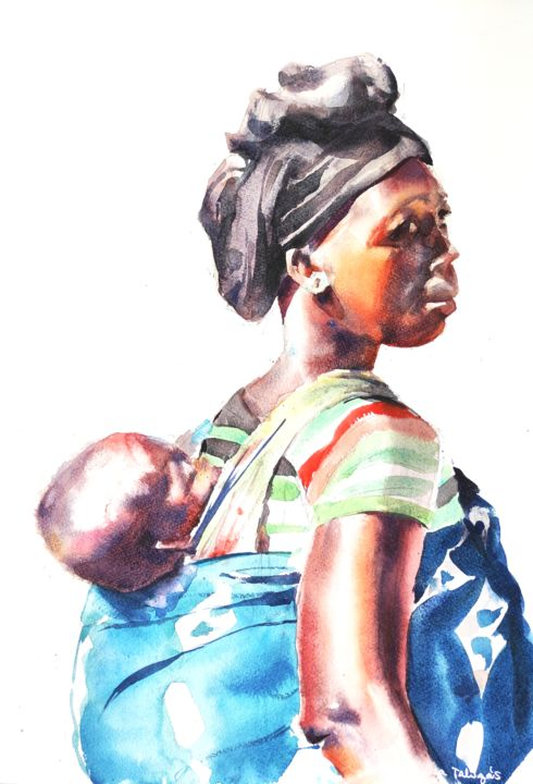 Malawian mother with child - Painting,  22.1x14.7 in, ©2016 by Ibolya Taligas -                                                                                                                                                                                                                                                                                                                                                                                                                                                                                                                                                                                                                                                                                                                                                                                                                                                                                                                                                                                                                                                                                                                                                                                      Figurative, figurative-594, Children, People, Portraits, Women, portrait, woman, baby, child, mother, people, figure, fine art, art print, wall art, african, malawian, faces, traditional, colourful, customs, relationship, love, belonging