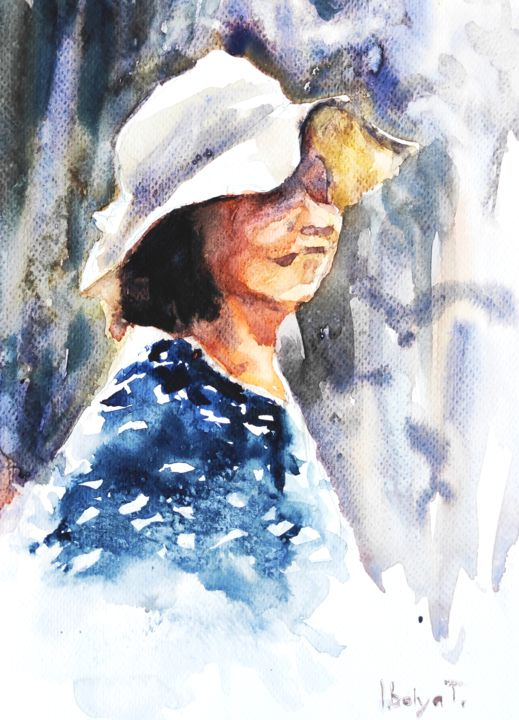 Lady in Sunhat - Painting,  9.5x7.1 in, ©2020 by Ibolya Taligas -                                                                                                                                                                                                                                                                                                                                                                                                                                                                                                                                                                                                                                                                                                                              Figurative, figurative-594, People, Portraits, Women, portrait, woman, sunhat, people, sunny, fine art, art print, painting, watercolour, sketch