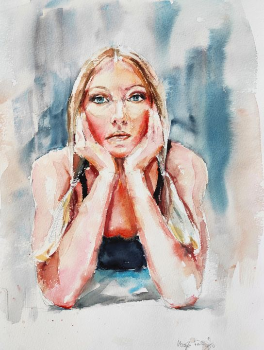 Motionless - Painting,  16x12 in, ©2020 by Ibolya Taligas -                                                                                                                                                                                                                                                                                                                                                                                                                                                                                                                                                                                                                                                                                                                                                                                                                                                                  Figurative, figurative-594, People, Portraits, Women, portrait, self-portrait, woman, girl, motionless, figure, people, watercolour, figurative, gazing, thoughts, thinking, looking