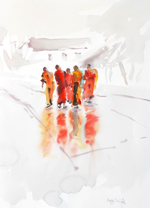 Lao Monks - Painting,  15x11 in, ©2018 by Ibolya Taligas -                                                                                                                                                                                                                                                                                                                                                                                                                                                                                                                                                                                                                                                                                                                                                                                                                                                                                                                                                                                                                                                                                              Impressionism, impressionism-603, Asia, People, Places, Religion, monks, watercolour, figures, figurative, people, walking, Laos, Laotian, asian, orange, red, religion, buddhism, painting, fine art, art print, wall art