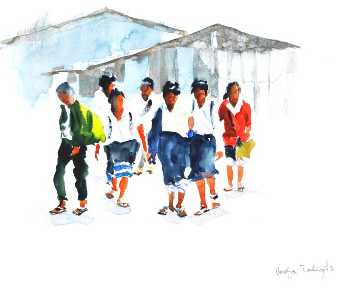 End of School - Painting,  10.6x14.6 in, ©2018 by Ibolya Taligas -                                                                                                                                                                                                                                                                                                                                                                                                                                                                                                                                                                                                                                                                                                                                                                                                                                                                                                                                                                                                                                                                                              Figurative, figurative-594, Asia, Children, People, Places, Portraits, figures, children, school, school kids, asia, Laos, Laotian, people, walking, end, finished, leaving, going home, exiting, group, friends