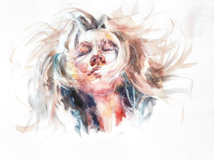 Spinning - Painting,  12x16 in, ©2018 by Ibolya Taligas -                                                                                                                                                                                                                                                                                                                                                                                                                                                                                                                                                                                                                                                                                                                                                                                                                                                                                                              Figurative, figurative-594, People, Portraits, Women, portrait, women, watercolour, painting, figure, spinning, hair, dreaming, dreamy, thoughts, thoughtful, fine art, art print, faces