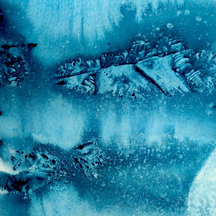 Winter - Painting, ©2020 by Ibolya Taligas -                                                                                                                                                                                                                                                                                                                                                                                                                                                                                                                                                                                                                                                                                                                                                                                                                                                                                                                                                                                                                                                                                              Abstract, abstract-570, Abstract Art, Colors, Patterns, blue, colour, abstract, square, pattern, icy, cold, wall art, watercolour, painting, texture, marks, mountain, snow, snowy, winter, deep, dark
