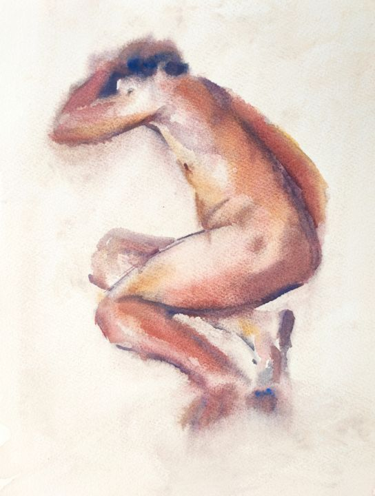 Male Nude - Painting,  16x12 in, ©2020 by Ibolya Taligas -                                                                                                                                                                                                                                                                                                                                                                                                                                                                                                                                                                                                                                                                                                                              Figurative, figurative-594, Nude, Women, nude, watercolour, painting, figurative, life, woman, pose, seated, wall art, art print, figure