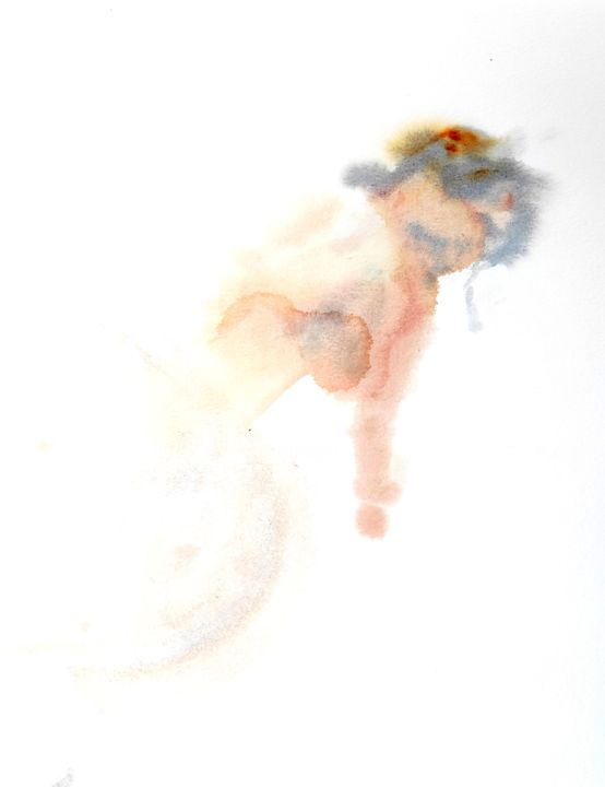 Female Nude (2) - Painting,  13.8x10.6 in, ©2020 by Ibolya Taligas -                                                                                                                                                                                                                                                                                                                                                                                                                                                                                                                                                                                                                                                                                  Figurative, figurative-594, Nude, nude, figure, figurative, painting, watercolour, suggestive, wall art, art print, pose, woman, leaning