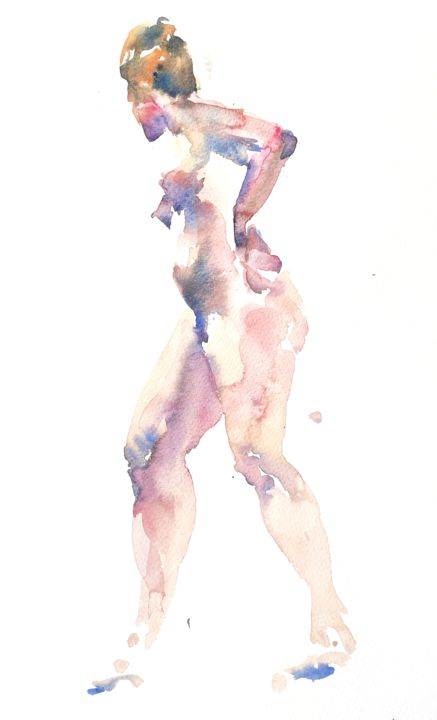Female Nude (3) - Painting,  16x12 in, ©2014 by Ibolya Taligas -                                                                                                                                                                                                                                                                                                                                                                                                                                                                                                                                                                                                                                                                                                                              Figurative, figurative-594, Nude, nude, figure, figurative, painting, watercolour, woman, pose, standing, stepping, wall art, art print, unclothed