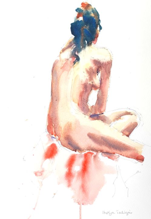 Female Nude (4) - Painting,  16x12 in, ©2020 by Ibolya Taligas -                                                                                                                                                                                                                                                                                                                                                                                                                                                                                                                                                                                                                                                                                                                                                                          Figurative, figurative-594, Nude, nude, figure, figurative, woman, female, model, pose, sitting, seated, watercolour, painting, wall art, art print