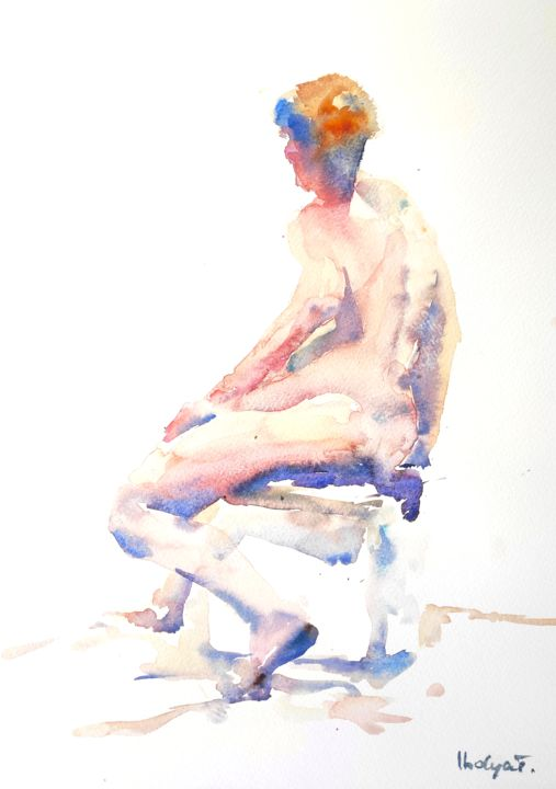 Female Nude (5) - Painting,  16x12 in, ©2016 by Ibolya Taligas -                                                                                                                                                                                                                                                                                                                                                                                                                                                                                                                                                                                                                                                                                                                              Figurative, figurative-594, Nude, nude, figure, figurative, female, woman, pose, seated, sitting, unclothed, wall art, art print, model