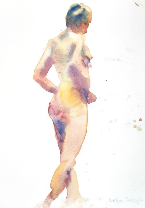 Female Nude (8) - Painting,  13.8x10.6 in, ©2014 by Ibolya Taligas -                                                                                                                                                                                                                                                                                                                                                                                                                                                                                                                                                                                                                                                                                                                                                                                                                                                                                                              Figurative, figurative-594, Nude, nude, figure, figurative, female, woman, pose, model, unclothed, standing, human body, impressionism, loose, wall at, watercolour, painting, art print