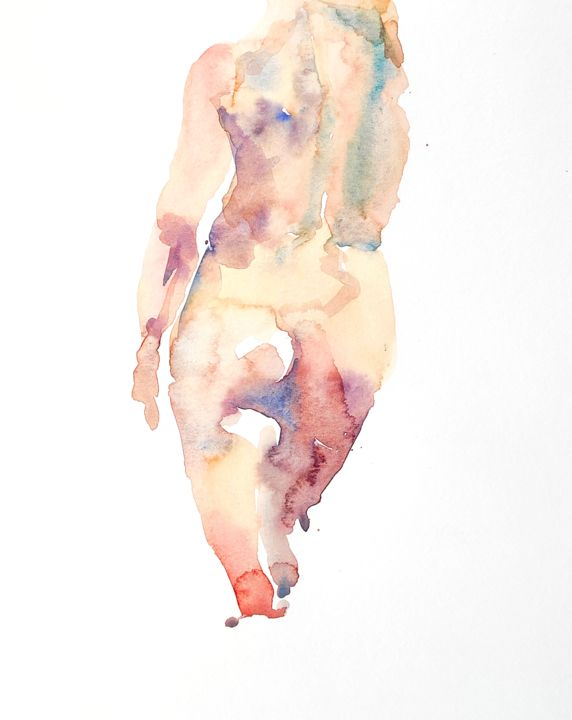 Female Nude (9) - Painting,  13.8x10.6 in, ©2014 by Ibolya Taligas -                                                                                                                                                                                                                                                                                                                                                                                                                                                                                                                                                                                                                                                                                                                                                                                                                                                                                                                                                          Figurative, figurative-594, Nude, nude, figure, figurative, unclothed, watercolour, painting, woman, female, pose, model, wall art, art print, torso, colours, loose, suggestive, human body