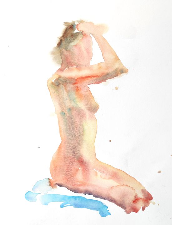 Female Nude (10) - Painting,  13.8x10.6 in, ©2014 by Ibolya Taligas -                                                                                                                                                                                                                                                                                                                                                                                                                                                                                                                                                                                                                                                                                                                                                                          Figurative, figurative-594, Nude, nude, figure, figurative, woman, female, human body, seated, watercolour, painting, unclothed, model, pose, loose