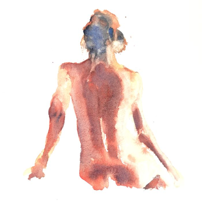 Female Nude (11) - Painting,  16x12 in, ©2014 by Ibolya Taligas -                                                                                                                                                                                                                                                                                                                                                                                                                                                                                                                                                                                                                                                                                                                                                                          Figurative, figurative-594, Nude, nude, figure, figurative, woman, female, pose, model, watercolour, painting, wall art, art print, unclothed, human body