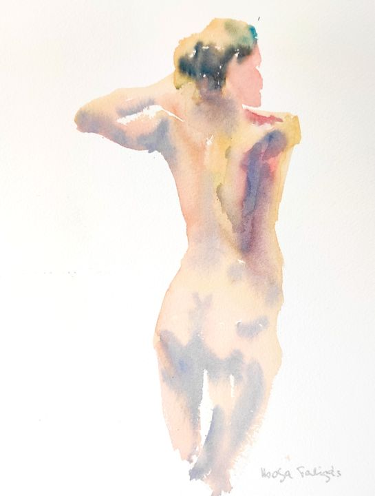 Female Nude (12) - Painting,  16x12 in, ©2015 by Ibolya Taligas -                                                                                                                                                                                                                                                                                                                                                                                                                                                                                                                                                                                                                                                                                                                                                                                                                                                                  Figurative, figurative-594, Nude, nude, figure, figurative, female, woman, pose, model, watercolour, painting, loose, suggestive, human body, study, wall art, art print