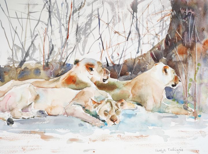 Lions in the South Luangwa - Painting,  12x16 in, ©2016 by Ibolya Taligas -                                                                                                                                                                                                                                                                                                                                                                                                                                                                                                                                                                                                                                                                                                                                                                                                                                                                                                                                                                                                      Expressionism, expressionism-591, Animals, lions, lionesses, resting, african animals, animal, wildlife, predators, big cats, africa, watercolour, painting, wall art, art print, three lions, sheltering, napping, lazying, expressionism