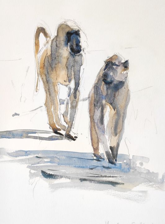Baboon Life - Painting,  11x8.3 in, ©2016 by Ibolya Taligas -                                                                                                                                                                                                                                                                                                                                                                                                                                                                                                                                                                                                                                                                                                                                                                                                                                                                                                              Expressionism, expressionism-591, Animals, baboon, primate, animal, african, wildlife, watercolour, pair, couple, walking, monkeys, painting, wall art, art print, wall hanging, side by side, following