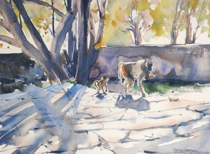 Baboon Walk - Painting,  12x16 in, ©2018 by Ibolya Taligas -                                                                                                                                                                                                                                                                                                                                                                                                                                                                                                                                                                                                                                                                                                                                                                                                                                                                  Expressionism, expressionism-591, Animals, baboon, mother and baby, bond, following, primates, monkeys, animal, wildlife, watercolour, painting, african, walking, landscape, african landscape, pavement