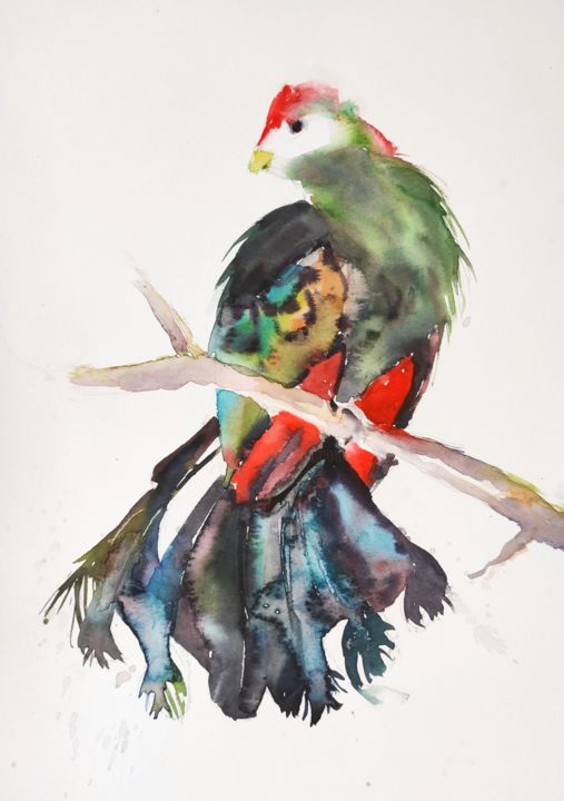 Red-crested turaco - Painting,  15x11 in, ©2018 by Ibolya Taligas -                                                                                                                                                                                                                                                                                                                                                                                                                                                                                                                                                                                                                                                                                                                                                                                                                                                                                                                                                                                                      Expressionism, expressionism-591, Animals, artwork_cat.Birds, turaco, bird, exotic, banana-eater, feathers, colours, red crest, beak, animal, wildlife, expressionism, watercolour, painting, wall art, art print, wall hanging, illustration