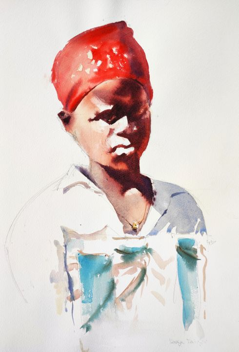 Malawian Woman - Painting,  22.1x15 in, ©2015 by Ibolya Taligas -                                                                                                                                                                                                                                                                                                                                                                                                                                                                                                                                                                                                                                                                                                                                                                                                                                                                                                              Figurative, figurative-594, Portraits, Women, woman, portrait, african, traditional, red headscarf, headscarf, watercolour, fashion, clothes, custom, painting, figure, figurative, wall art, wall hanging