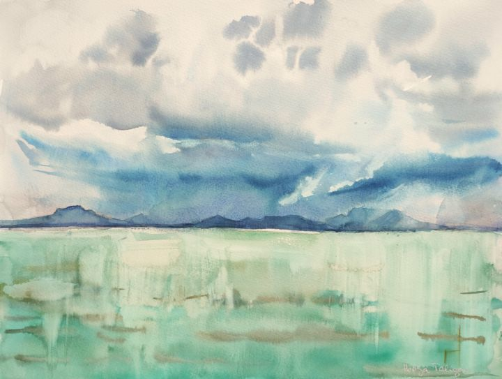 Lake Balaton - Painting,  12x16 in, ©2016 by Ibolya Taligas -                                                                                                                                                                                                                                                                                                                                                                                                                                                                                                                                                                                                                                                                                                                                                                                                                                                                                                                                                                                                                                                                                              Expressionism, expressionism-591, artwork_cat.Colors, Landscape, Water, Lake Balaton, lake, water, reflection, sky, stormy sky, watercolour, painting, wall art, art print, illuminated, mountains, horizon, sescape, Hungary, turquoise, light, expressionism