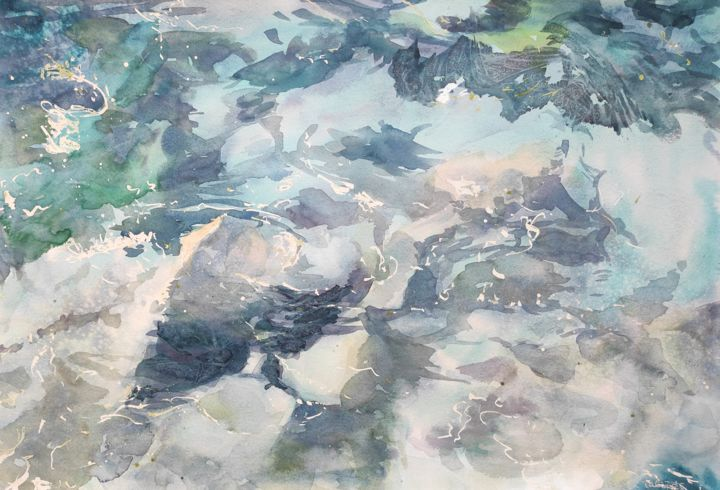 Underwater Rocks (full size) - Painting,  15x22 in, ©2015 by Ibolya Taligas -                                                                                                                                                                                                                                                                                                                                                                                                                                                                                                                                                                                                                                                                                                                                                                                                                                                                                                                                                                                                                                                                                                                                                                                                                                  Expressionism, expressionism-591, Abstract Art, artwork_cat.Colors, Seascape, Water, seashore, rocks, underwater, pebbles, transparent, shallow water, abstract, textures, patterns, turquoise, water, colour, expressionism, wall art, art print, wall hanging, design, painting, watercolour, ripples