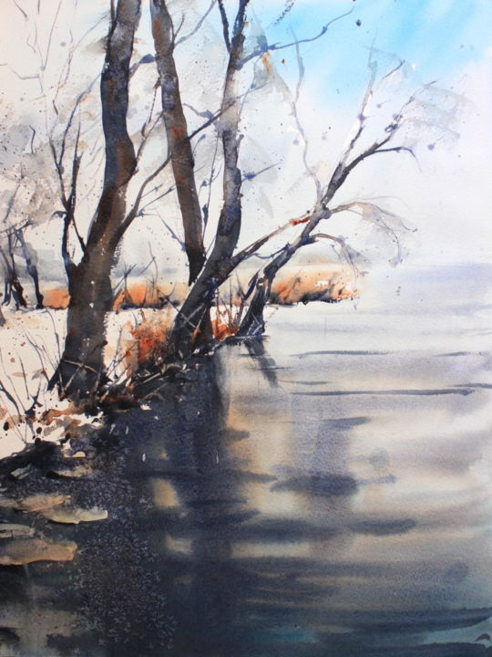 Winter on the river Danube - Painting,  16x12 in, ©2018 by Ibolya Taligas -                                                                                                                                                                                                                                                                                                                                                                                                                                                                                                                                                                                                                                                                                                                                                                                                                                                                                                                                                                                                                                                                                                                                                                                      Expressionism, expressionism-591, Landscape, Tree, Water, landscape, watercolour, reflections, water, river, trees, winter, seasons, frozen, freezing, stillness, calm, dormant, wall art, art print, expressionism, textures, patterns, ice, icy