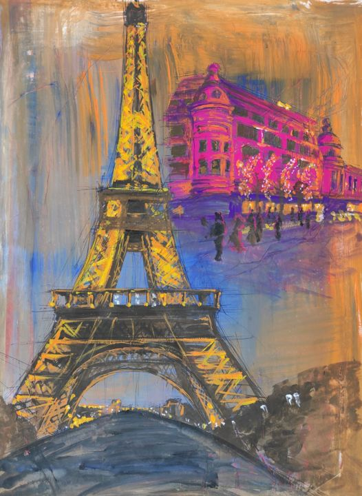 Paris - Painting,  23x16 in, ©1998 by Ibolya Taligas -                                                                                                                                                                                                                                                                                                                                                                                                                                                                                                                                                                                                                                                                                                                                                                                                                                                                                                                                                                                                                                                                                                                                          Illustration, illustration-600, Architecture, artwork_cat.Cityscape, artwork_cat.Colors, Places, Paris, city, cityscape, landmarks, Eiffel Tower, Lafayette, christmas lights, acrylic, poster, illustration, graphic design, advertisement, painting, famous, bright colours, vibrant, wall art, art print