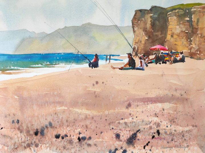 Burton Bradstock Beach - Painting,  12x16 in, ©2014 by Ibolya Taligas -                                                                                                                                                                                                                                                                                                                                                                                                                                                                                                                                                                                                                                                                                                                                                                                                                                                                                                                                                                                                                                                                                                                                                                                                                                                                              Expressionism, expressionism-591, Beach, artwork_cat.Colors, Landscape, People, Seascape, landscape, seascape, beach, pebbles, sand, summer, seasons, cliffs, shoreline, Burton Bradstock, England, coast, seaside, sunbathing, watercolour, painting, expressionism, textures, hot pink, umbrella