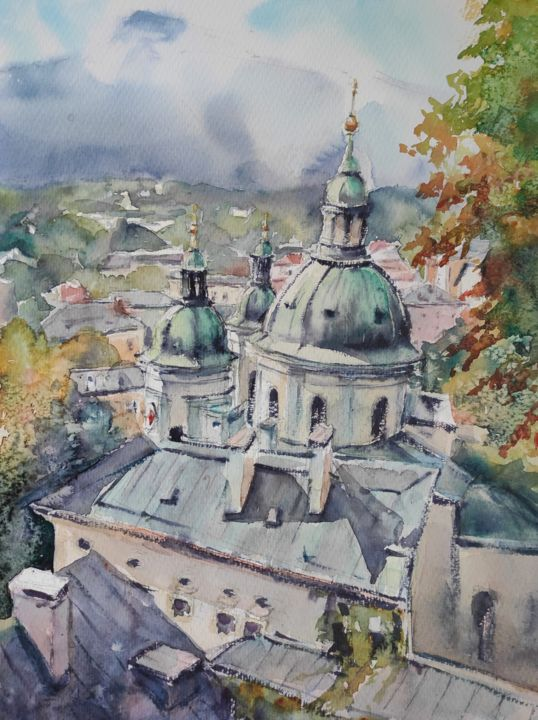 Salzburg skyline - Painting,  16x12 in, ©2020 by Ibolya Taligas -                                                                                                                                                                                                                                                                                                                                                                                                                                                                                                                                                                                                                                                                                                                                                                                                                                                                                                                                                                                                                                              Expressionism, expressionism-591, cityscape, townscape, landscape, watercolour, painting, autumn colours, trees, green dome, church, Salzburg, Austria, wall art, art print, wall hanging, expressionism, skyline, panorama, aerial view, buildings, architecture