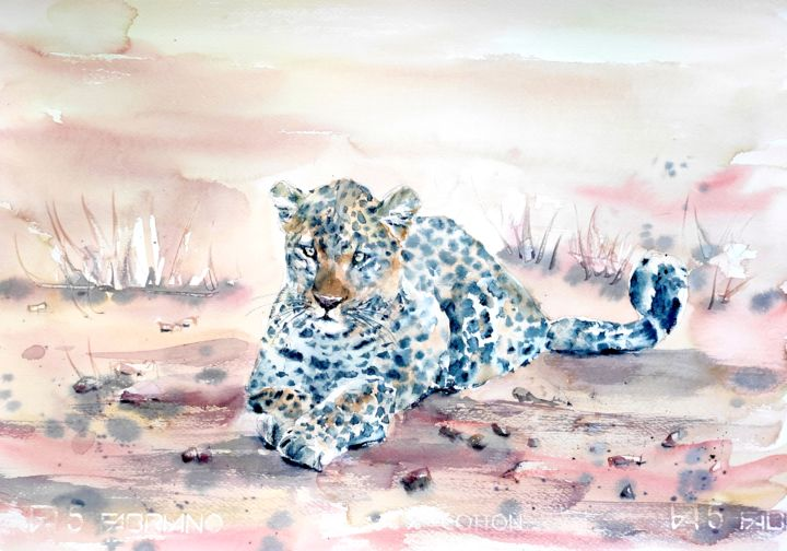 SITTING LEOPARD - Painting,  14x19.5 in, ©2020 by Ibolya Taligas -                                                                                                                                                                                                                                                                                                                                                                                                                                                                                                                                                                                                                                                                                                                                                                                                                                                                                                                                                                                                                                              Expressionism, expressionism-591, leopard art, leopard painting, watercolour wildlife, watercolour leopard, African animal painting, Big cat painting, leopard spots, wildlife art, African predator, reclusive animal, shy leopard, sitting leopard, leopard tail, leopard print, animal painting, expressionism, African fauna, African landscape, Savannah, dry landscape