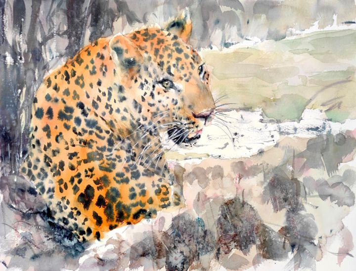 LEOPARD ON THE RIVERBANK - Painting,  12x16 in, ©2021 by Ibolya Taligas -                                                                                                                                                                                                                                                                                                                                                                                                                                                                                                                                                                                                                                                                                                                                                                                                                                                                                                                                                                                                                                              Illustration, illustration-600, leopard painting, watercolour leopard, african big cat, big cat painting, sitting leopard, leopard art, leopard spots, african wildlife, african landscape, leopard in its habitat, wall art leopard, original wildlife, leopard canvas print, endangered species, recluse, hiding, relaxing cat, relaxing leopard, leopard illustration, realistic leopard painting