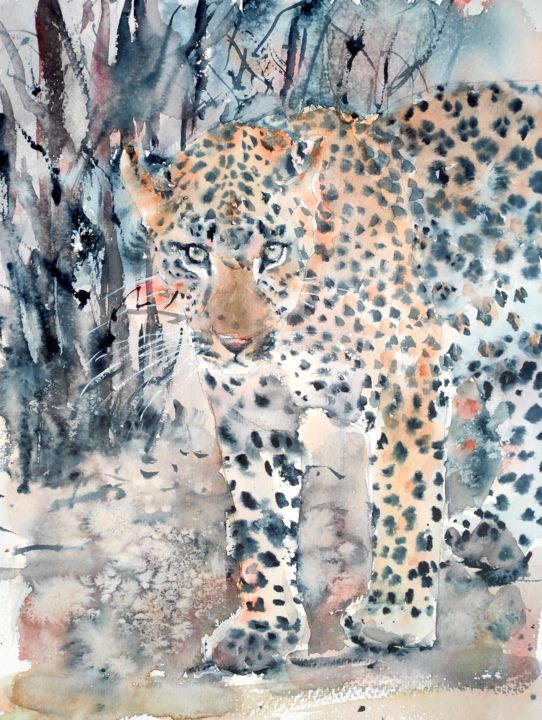 MASTER OF DISGUISE - Painting,  16x12 in, ©2021 by Ibolya Taligas -                                                                                                                                                                                                                                                                                                                                                                                                                                                                                                                                                                                                                                                                                                                                                                                                                                                                                                                                                                                                                                              Expressionism, expressionism-591, leopard art, leopard painting, watercolour leopard, leopard eyes, looking leopard, walking leopard, canvas print leopard, art print leopard, African big cat, african wildlife, wildlife painting, watercolour wildlife, leopard standing, leopard spots, blending in, disguise, endangered species, african landscape, looking ahead, on guard
