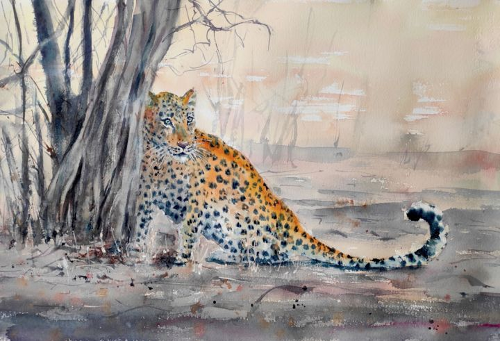 SHY LEOPARD - Painting,  15x22 in, ©2021 by Ibolya Taligas -                                                                                                                                                                                                                                                                                                                                                                                                                                                                                                                                                                                                                                                                                                                                                                                                                                                                                                                                                                                                                                              Illustration, illustration-600, leopard painting, shy leopard, leopard watercolour, leopard art, African big cat, cat whiskers, leopard spots, hiding, on guard, African wildlife, wild animal, wildlife painting, watercolour animal, watercolour big cat, watercolour wildlife, leopard behaviour, animal behaviour, realist leopard painting, realism, african landscape