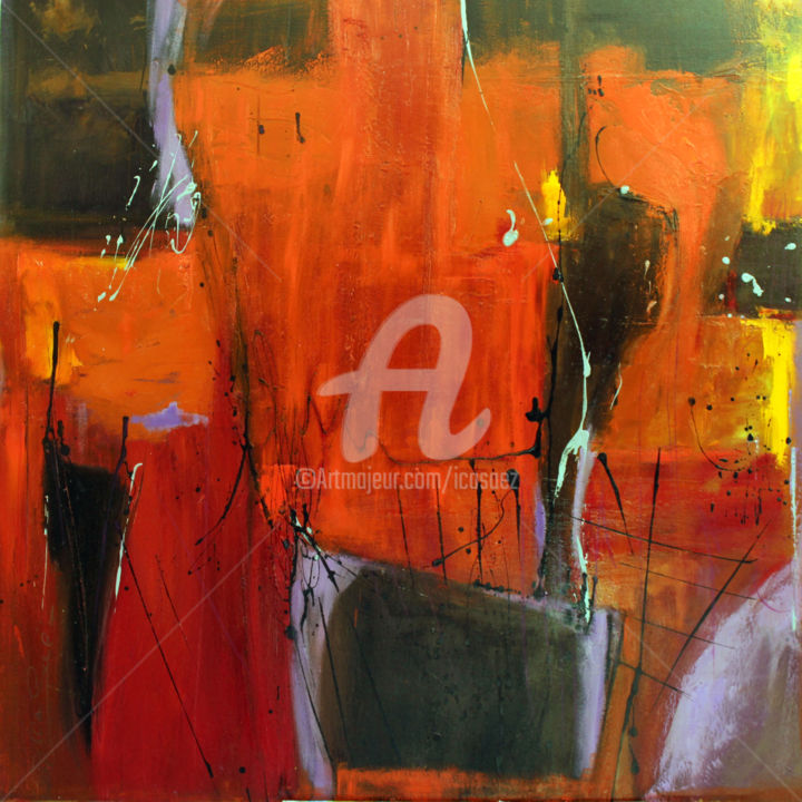 Triangle noir - Peinture,  43,3x43,3x0,4 in, ©2016 par Ica Saez -                                                                                                                          Abstract, abstract-570