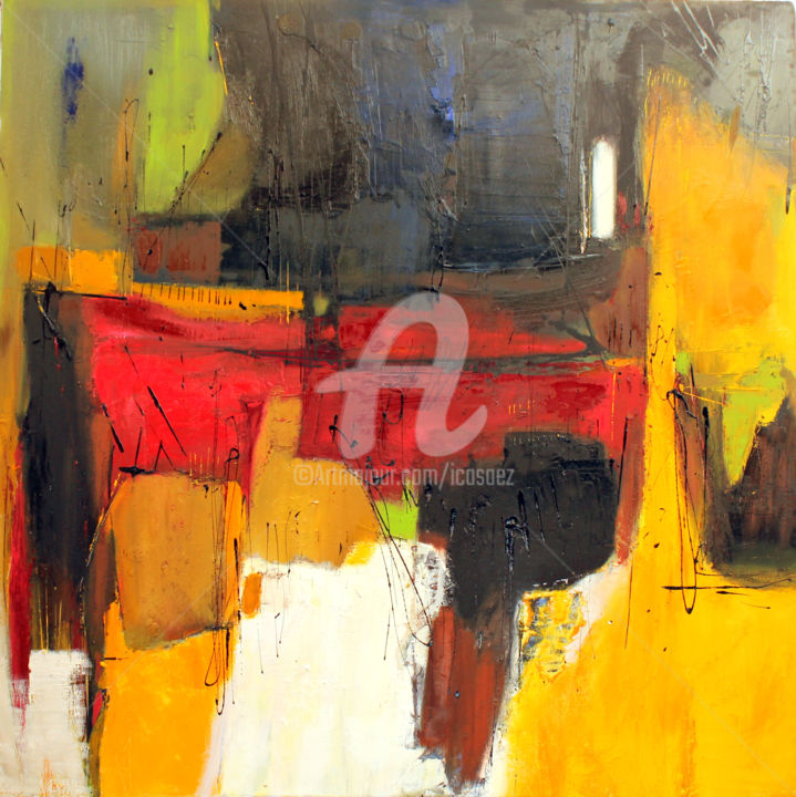 Composition abstraite 5 - Painting,  120x120 cm ©2017 by ica saez -