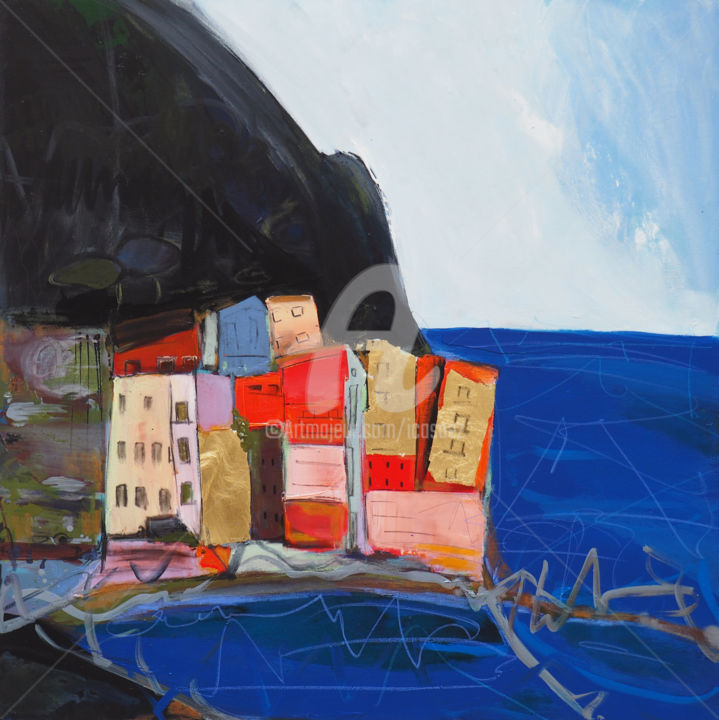 Amalfi 1 - Peinture,  39,4x39,4 in, ©2019 par Ica Saez -                                                                                                                                                                          Abstract, abstract-570, Ica Saez