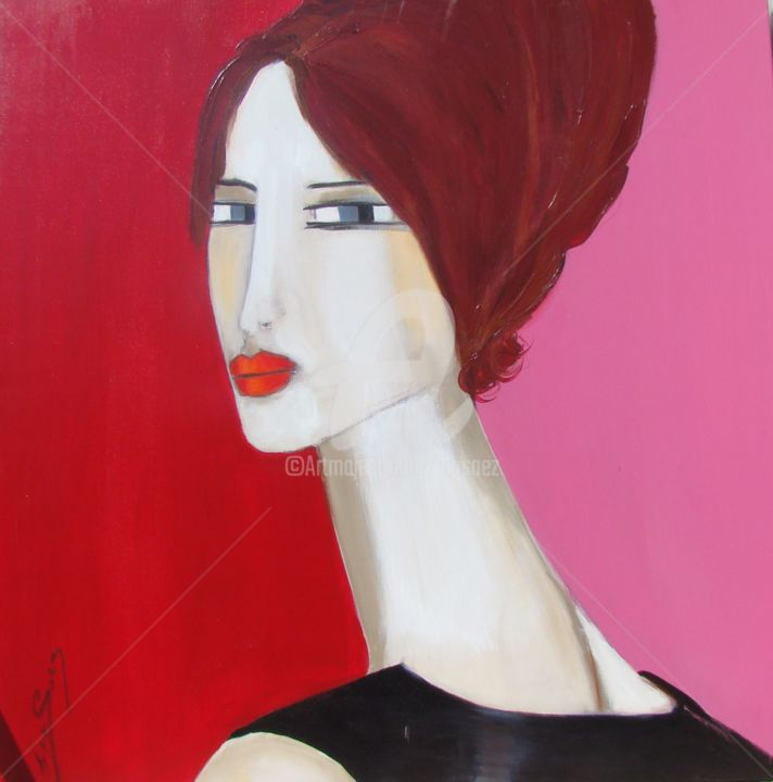 Quoi ma Petite Robe Noire? - Painting,  39.4x39.4 in, ©2009 by Ica Saez -