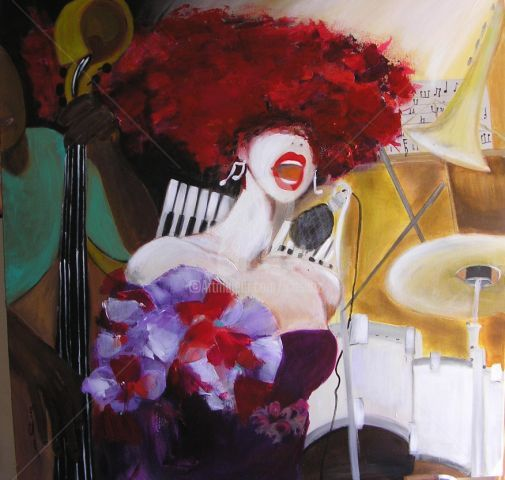 Jazz - Painting,  39.4x39.4 in, ©2012 by Ica Saez -