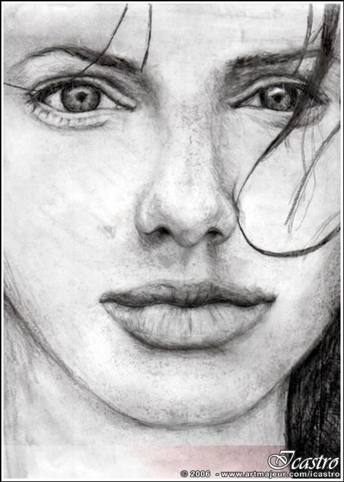 """Drawing titled """"Angelina"""" by Icastro, Original Art,"""