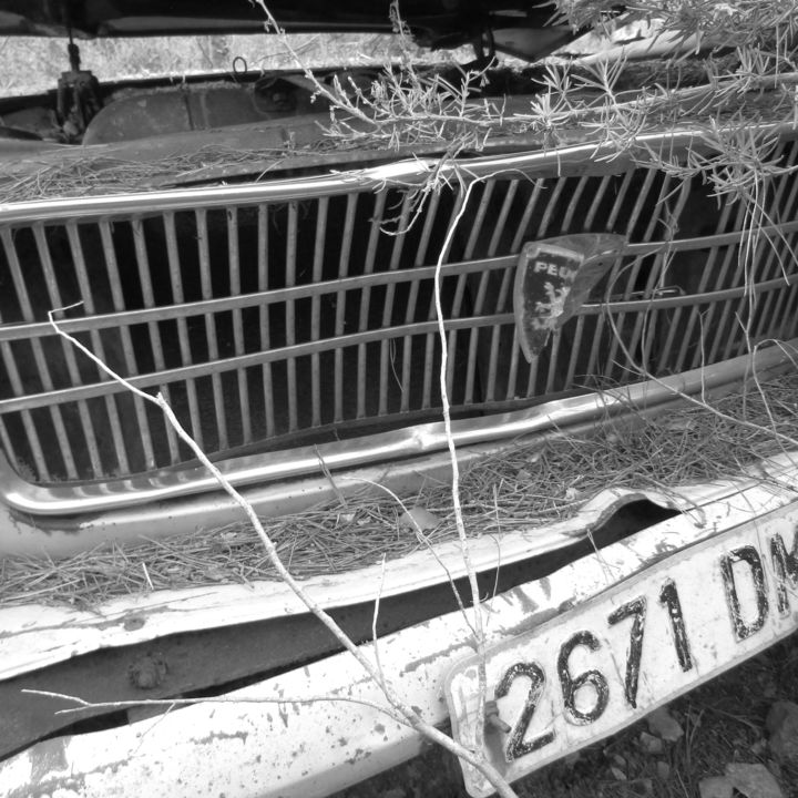 Number plate - Photography, ©2017 by Isabelle Stagg -                                                                                                                                                                                                                                                                                                                                              Other, Car, Peugeot 404, grill, number plate, vintage car, Black and White