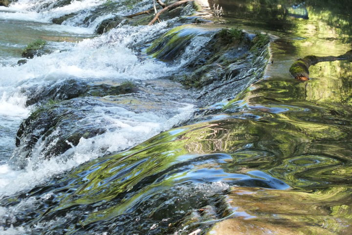 Cascade 1 - Photography,  15.8x23.6x0.1 in, ©2017 by Isabelle Stagg -                                                                                                                                                                                                                                                                                                                                                                                                                                                          Figurative, figurative-594, Aluminum, Nature, Water, water, cascade, movement, reflections
