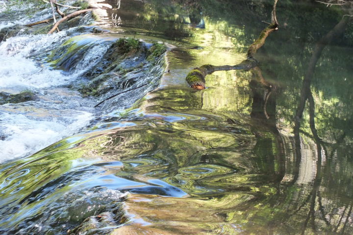 Cascade 2 - Photography,  11.8x15.8x0.1 in, ©2017 by Isabelle Stagg -                                                                                                                                                                                                                                                                                                                                                                                                                                                                                                      Figurative, figurative-594, Aluminum, Nature, Water, water, cascade, reflections, movement, distortion