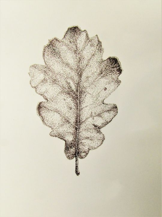Feuille de chene - Drawing,  24x32 cm ©2019 by Isabelle Stagg -                                                                                Realism, Botanic, Garden, Nature, Tree, winter leaf, oak, ink drawing, pointillism