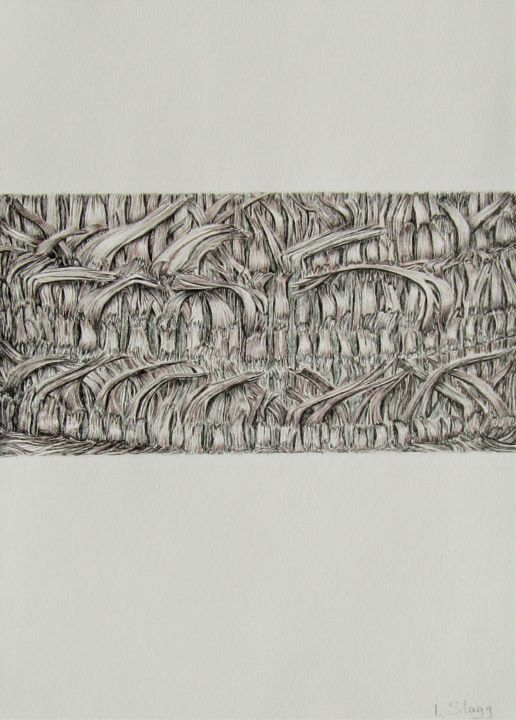 Code temporel 2 - Drawing,  16.5x11.8 in, ©2019 by Isabelle Stagg -                                                                                                                                                                                                                                                                                                                                                                                                                                                                                                                                                                                                                                                                                                                              Abstract, abstract-570, Abstract Art, Botanic, Garden, Nature, Patterns, ink drawing, bark, Palm tree, textures, patterns, ecorce, palmier, Provence