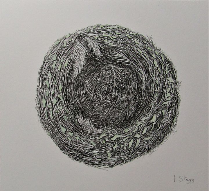 Nest - Drawing,  9.5x10.4 in, ©2019 by Isabelle Stagg -                                                                                                                                                                                                                                                                                                                                                                                                                                                      Illustration, illustration-600, Architecture, Birds, Nature, bird nest, ink drawing, organic architecture, textures