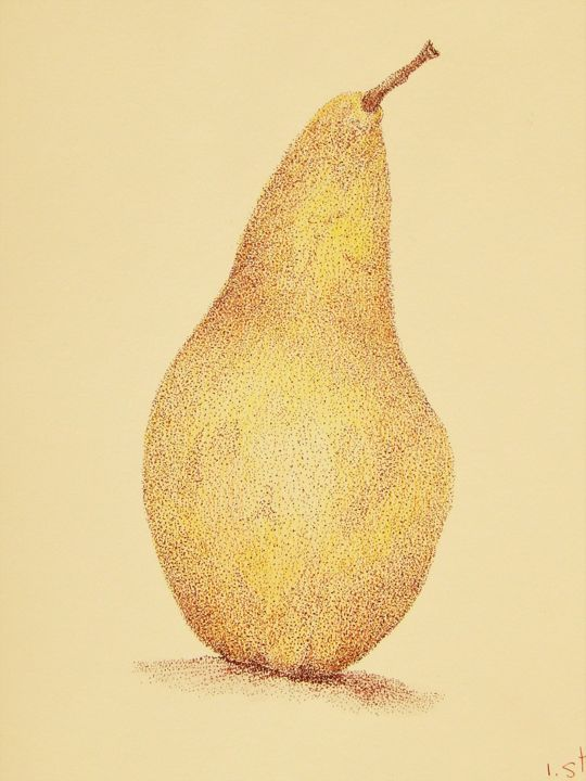 One Pear - Drawing,  16.5x11.8 in, ©2019 by Isabelle Stagg -                                                                                                                                                                                                                                                                                                                                                                                                                                                                                                                                              Illustration, illustration-600, Cuisine, Food & Drink, Garden, Still life, Pear still life, autumn, fruit, ink drawing, colours