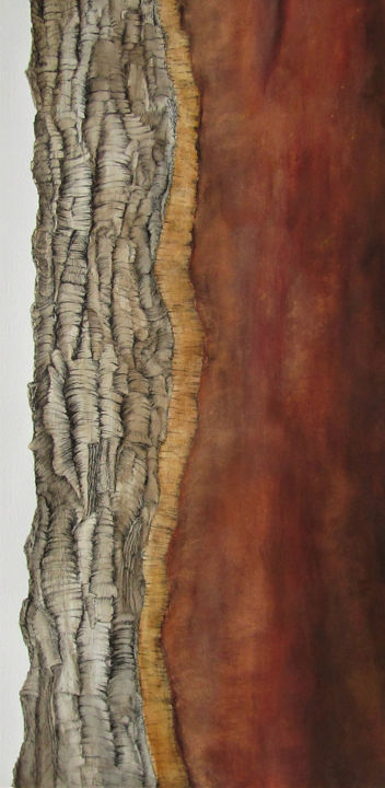 Quercus Suber I - Drawing,  25.6x12.6 in, ©2020 by Isabelle Stagg -                                                                                                                                                                                                                                                                                                                                                                                                                                                                                                                                                                                          Illustration, illustration-600, Botanic, Culture, History, Nature, Tree, Chene liege, cork oak, bark, tree, Quercus Suber