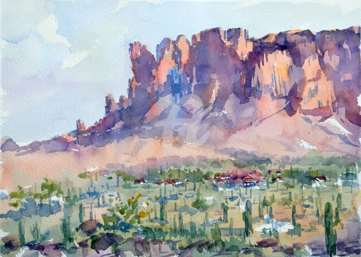 """Painting titled """"Superstition mounta…"""" by Igal, Original Art, Watercolor"""