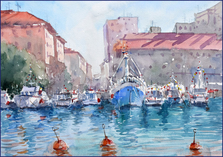 """Painting titled """"Italian bay"""" by Igal, Original Art, Watercolor"""